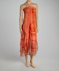 Another great find on #zulily! Coral Tie-Dye Ruffle Dress #zulilyfinds