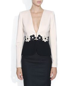 Take a look at this Nissa: Beige & Black Flower Jacket by Nissa on #zulily today!