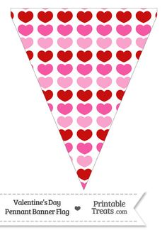 Red and Pink Hearts Pennant Banner Flag from PrintableTreats.com