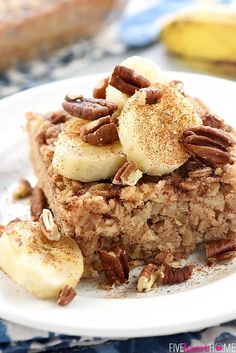 Banana Bread Baked Oatmeal ~ boasts the delicious flavor of banana bread, but it's made with wholesome oats, pecans, and coconut oil for a healthy, filling breakfast or brunch recipe!   FiveHeartHome.com