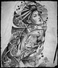 Japan Geisha Hair - - Japan Wallpaper For Pc - Kyoto Japan Scenery - Japan Painting Cat Asian Tattoos, Leg Tattoos, Body Art Tattoos, Japan Tattoo, Japanese Tattoo Art, Japanese Sleeve Tattoos, Japanese Legs, Japanese Art, Geisha Tattoo Design