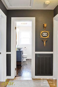 Dark Charcoal Gray Hallway (like the dark paint with white trim contrast)
