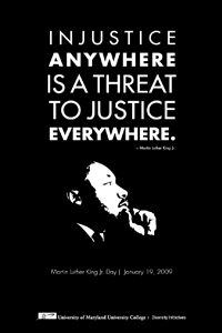 "MLK #quote: ""Injustice anywhere is a threat to justice everywhere."""