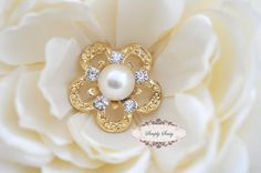 5pcs RD144 Rhinestone Pearl Gold Metal Flatback Embellishment Button Brooch Bridal accessories invitations crystal bouquet flowers hair comb. $7.75, via Etsy.