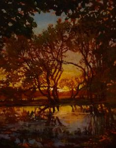 Jan Schmuckal | Tonalism | Impressionism | Pond | Sunset | Original Oil on Canvas | Janus Galleries