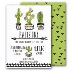 Cactus Invitation Desert Tribal Birthday by BradfordPartyDesigns