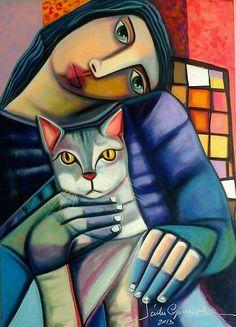 "textless: "" Back in a few days. Art And Illustration, L'art Du Portrait, Art Populaire, Naive Art, Angel Art, Cat Drawing, Artist Art, Crazy Cats, Figurative Art"