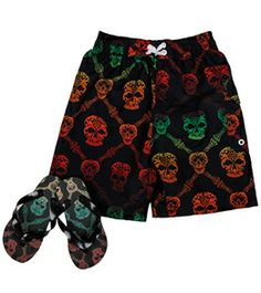 Jump N Splash Boys' Skull Swim Trunk w/ FREE Flipflops (4-14) #swimoutlet Swimsuits 2014, Swimwear, Swim Shop, Flip Flops, Trunks, Skull, Swimming, Popular, Boys