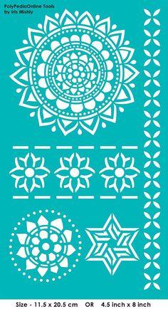 Modèles de pochoirs « Mandala, fleurs, étoiles » au pochoir, auto-adhésif, flexible, pour la pâte polymère, tissu, bois, verre, fabrication de cartes