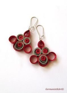 Red Grey Paper Quilling Earrings Quilled Paper by GermanistikArt
