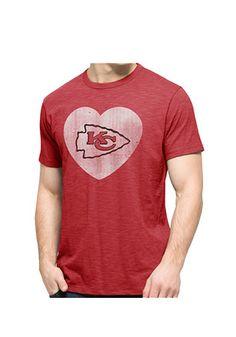 '47 KC Chiefs Mens Red Heart Logo Scrum Fashion Tee