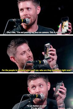 GIFSET - Jensen, Jibcon16, so cute while face timing Danneel :):)