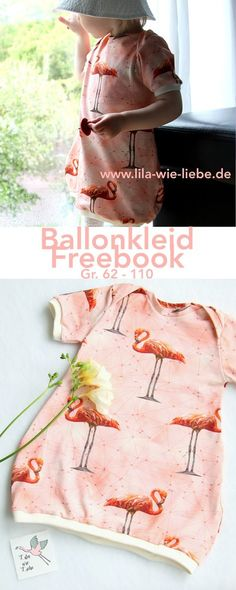 Für Flamingostoffe das passende Schnittmuster: Ballonkleid für Kinder nähen kostenlose Anleitung freebook