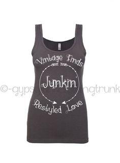 Gypsy Junkin Tank Top - Junkin' Feather Print Charcoal Gray Womens Tank Top  - Arrow Print - Yard Sale Tank Top - by GypsyJunkClothing