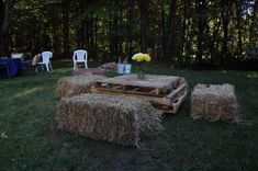 Pallet coffee table and hay bale seating