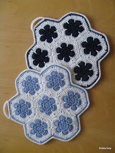 Wiktoriinan villat: Afrikankukka-pannulappuja Pot Holders, Knit Crochet, Blanket, Sewing, Knitting, Diy, Crafts, Crocheting, Potholders