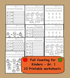 Fall Counting for Kinders - Gr. 1 printable pages in PDF format) Printable Worksheets, Printables, School Themes, School Ideas, Math Magic, Special Needs Students, Math School, Primary Maths, Teaching Math