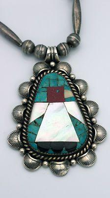 Vintage Navajo RAY KING Turquoise Inlay THUNDERBIRD Silver Nacklace GUILD MARK | eBay