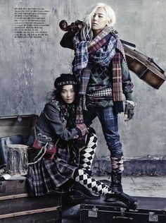 """Street to Street"": Kim Bo-Sung for Vogue Korea August 2013 Fashion Foto, Asian Fashion, Hippie Fashion, Riot Grrrl, Hobo Chic Style, Mode Tartan, Mode Punk, Kim Sang, Moda Boho"