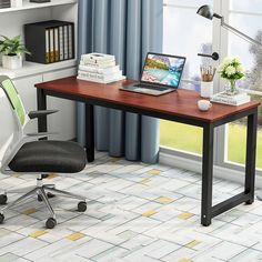 """Amazon.com : Tribesigns Computer Desk, 63"""" Large Office Desk Computer Table Study Writing Desk for Home Office (Teak +Black Leg) : Office Products"""
