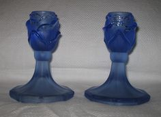 Part frosted blue glass candlesticks by Reich pattern 8775 Glass Candlesticks, Pressed Glass, Frost, Vase, Pattern, Vintage, Beautiful, Home Decor, Decoration Home