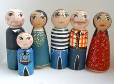 Custom peg doll family of 6 large by pocketfolk on Etsy, $102.00
