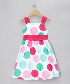 Take a look at this White & Fuchsia Polka Dot Poplin Dress - Toddler & Girls by Rare Editions on #zulily today!