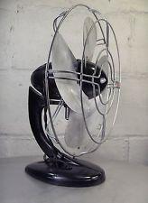 Vintage 1930's Art Deco Streamline Black Gilbert Table Fan