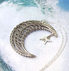 Crescent Moon Necklace Moon and Star by SterlingSimplicity on Etsy, $22.00