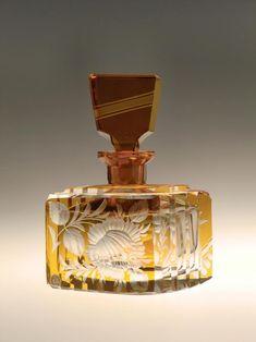 RARE Bohemian Czech Amber Cut to Clear Glass Art Deco Perfume Bottle Vanity Set by Karel Palda Haida - Perfum Bottles Vintage - Empty Perfume Bottles, Glass Dropper Bottles, Glass Spray Bottle, Vintage Perfume Bottles, Bottle Art, Décor Antique, Antique Vanity, Antique Glass, Art Deco