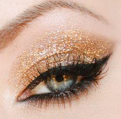 Новогодний золотой макияж глаз
