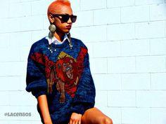 www.cewax aime la mode ethnique, tribale, afro tendance, hippie, boho chic... 1980 ' s Tiger Face cuir Patch Cosby Hipster surdimensionnés hommes chandail.