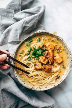 Homemade Spicy Ramen recipe with an easy spicy miso paste for the broth and dry ramen noodles that taste JUST like fresh! Vegetarian / vegan.| pinchofyum.com