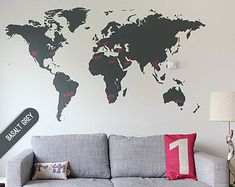 World map wall decal world map decal vinyl wall art mural mappemonde sticker etsy fr world map gumiabroncs Images