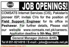 Comsats Internet Services Islamabad Jobs