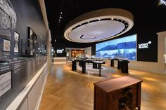 Inside the Montblanc booth, a large video wall showcased the Jura Valley that watch craftsmen see from their posts. Rounding out the space w... Photo: Alain Morvan