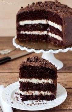 Triple Layer Chocolate Cake with a Coconut Cream Cheese Filling sliced and ready to enjoy.