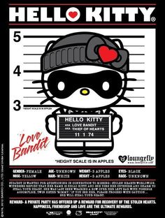 Hello Kitty Love Bandit Collection by Loungefly - The latest Hello Kitty Love Bandit collection by Loungefly will definitely steal the hearts of all style fans in an age-old love affair with this cute feline. Loungefly Hello Kitty, Hello Kitty Imagenes, Hello Kitty Art, Kitty Kitty, Goodbye Kitty, Hello Kitty Pictures, Kitty Images, Hello Kitty Collection, Hello Kitty Wallpaper