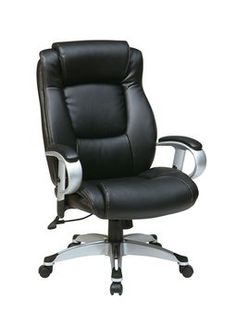 Work Smart Executive Eco Leather Chair with Height Adjustable Padded Arms and Coated Base - Silver/Black