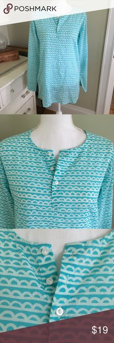 "See Design Half Circle Blue and White Tunic This light blue and white half circle/line tunics works great as a cover up or a dress. Made of 100% soft cotton, this long sleeve tunic is perfect for any season. Small mark on back near neckline (see 7th photo). Size: Small, but roomy. Chest: 20.5"". Length (shoulder to hem): 30"". see design Tops Tunics"