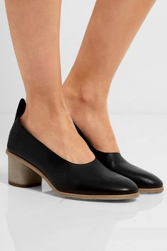 Heel measures approximately 50mm/ 2 inches Black leather Slip on Made in Italy