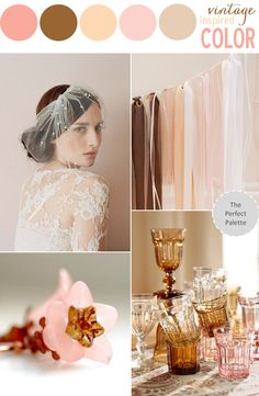 Vintage Inspired Color | Shades of Blush + Brown http://www.theperfectpalette.com/2013/09/vintage-inspired-shades-of-blush-brown.html