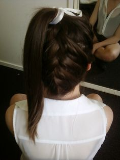 Upside down french braid ponytail.