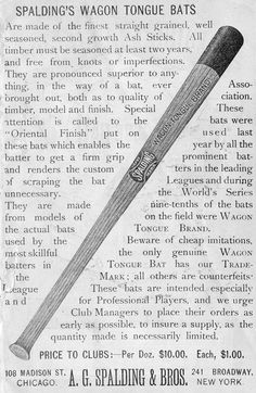 Baseball history photo: Spalding Wagon Tongue Bat, advertisement from the 1889 Spalding Guide. Click photo to return to previous page.