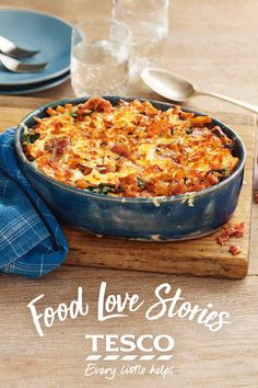 Stu from our Food Love Story has gone all out for his anniversary with his girlfriend and cooked her favourite meal, mac 'n' cheese - adding some smoky bacon strips for extra crunch. | Tesco