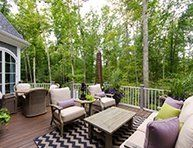 Jonathan Williams of Jonathan Andrew Interiors designed the back deck to the 2014 Richmond Symphony Orchestra League Designer House, Hampton Manor, built by Richmond luxury home builder, Bel Arbor Builders, at Hallsley, in Midlothian, VA-see all of the outdoor entertaining spaces in this sensational home!