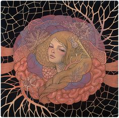 """Inside Me Still - oil, ink, and graphite on wood 24""""x24"""" Scope Basel art fair with Thinkspace Gallery 2013 (jg) © Audrey Kawasaki 2004 - 2013"""