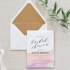 Watercolor Ombre Bridal Shower Invitations by blushprintables