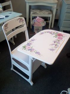 Vintage Shabby Chic Custom Painted Furniture www.handpaintedbycookie.com Vintage Painted Childs School Desk by HandpaintedbyCookie on Etsy,