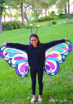 Easy butterfly costume. Perfect for a last minute Halloween costume idea. #halloween www.skiptomylou.org